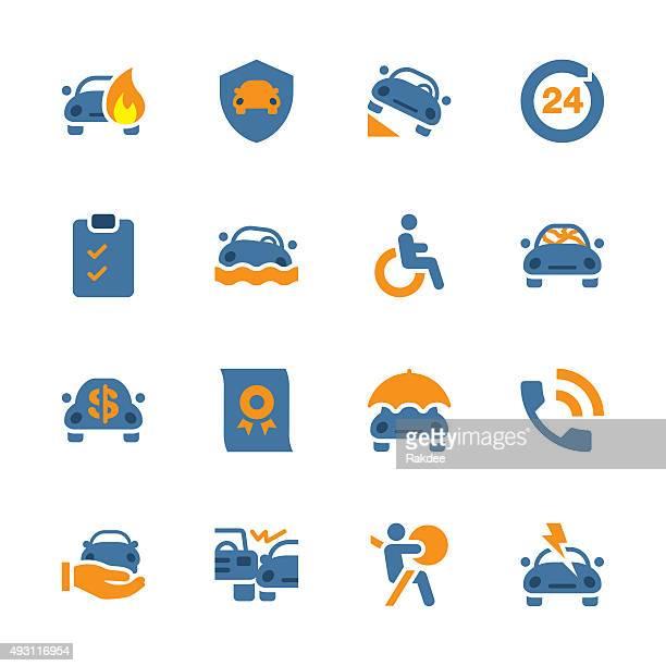Seguro automóvel ícones-série de cor