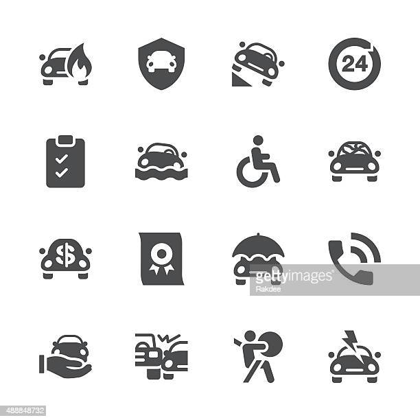 car insurance icon - gray series - damages compensation stock illustrations