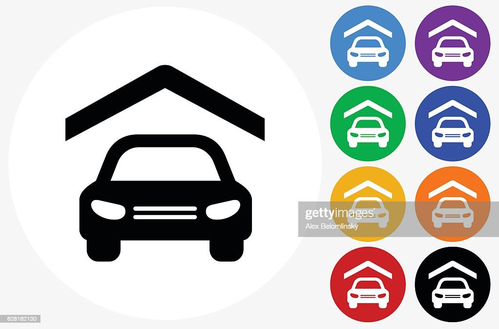 Car Insurance Icon On Flat Color Circle Buttons Stock Illustration