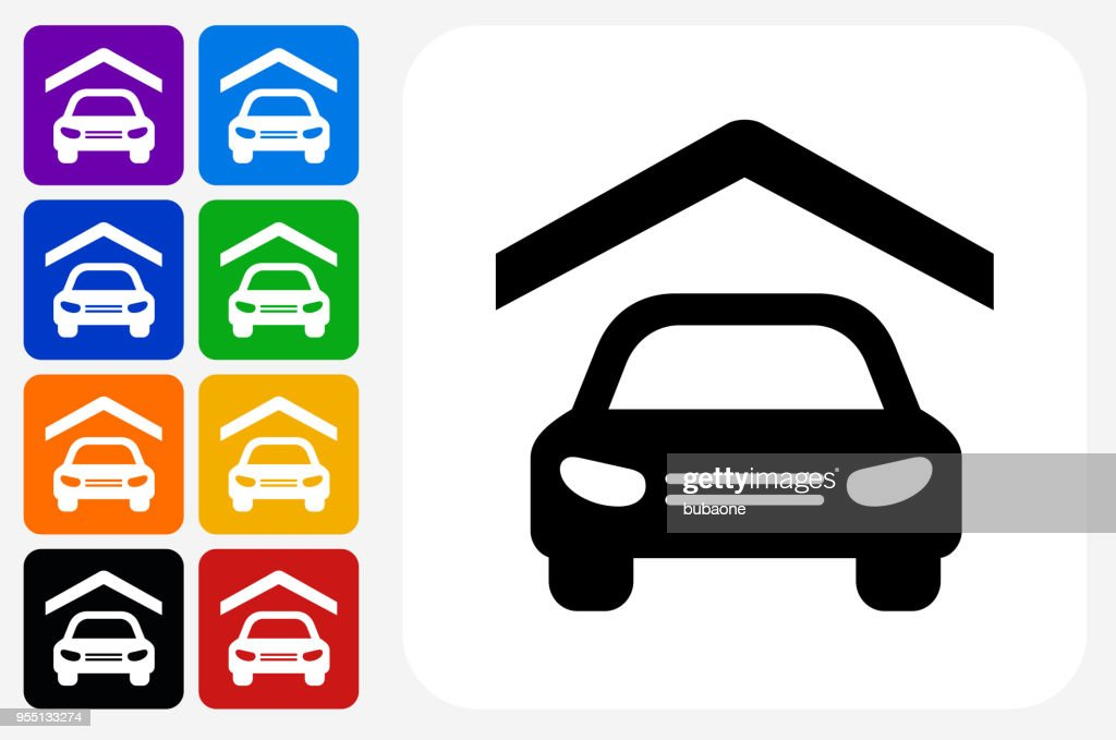 Car Insurance Icon Square Button Set Stock Illustration Getty Images