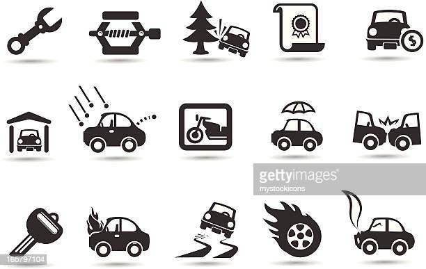 car insurance icons - motorcycle accident stock illustrations