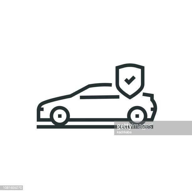 illustrations, cliparts, dessins animés et icônes de icône de la ligne d'assurance voiture - protection