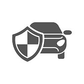Car insurance logo isolated on white background, automobile protected with shield, auto protection sign flat label badge