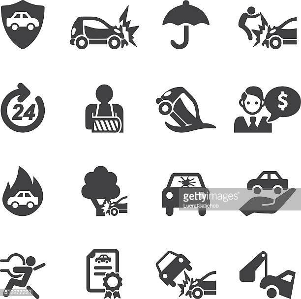 car insurance silhouette icons | eps10 - misfortune stock illustrations, clip art, cartoons, & icons