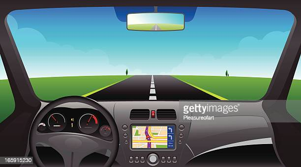 Car interior dashboard with GPS device
