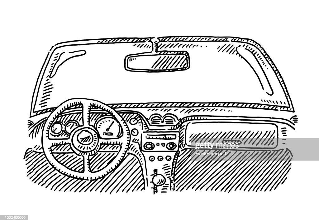 Auto Innenraum Lenkrad Zeichnung : Vektorgrafik