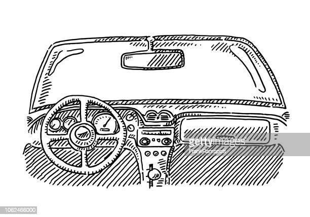 Car Interior Steering Wheel Drawing
