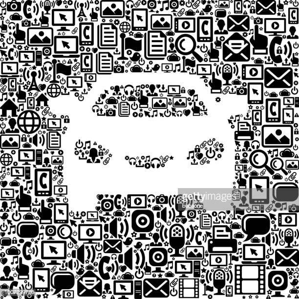 Car Internet Communication Technology Vector Icon Pattern
