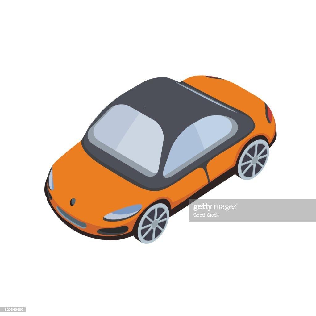 Car isometric icon. Vector illustration, isolated on white background.