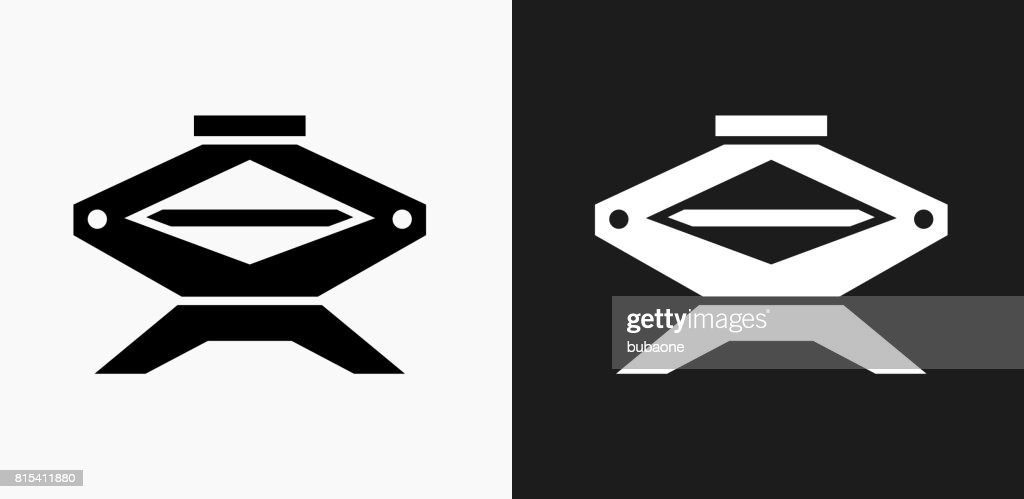 Car Jack Icon on Black and White Vector Backgrounds