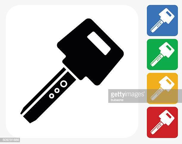 car key icon flat graphic design - car key stock illustrations, clip art, cartoons, & icons