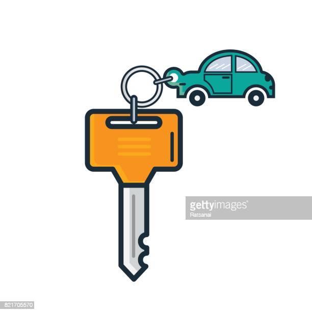 car key icon - car key stock illustrations, clip art, cartoons, & icons