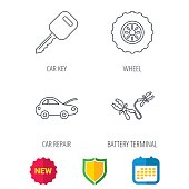 Car key, wheel and repair service icons.