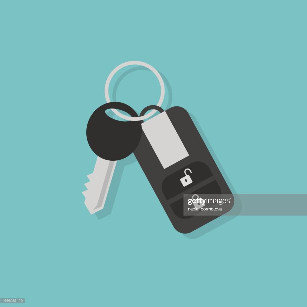 Car key with remote control / flat editable vector illustration, clip art