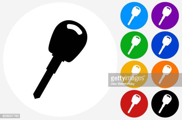 Car Keys Icon on Flat Color Circle Buttons