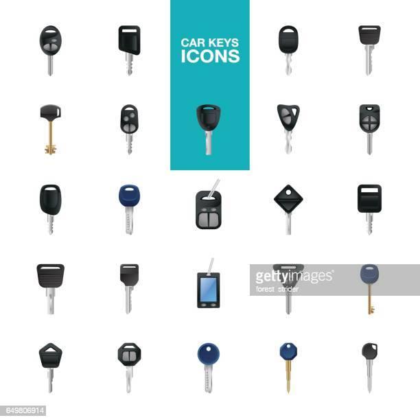 Pictogrammen van de sleutels van de auto