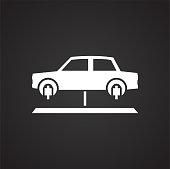Car lift service procedure on black background for graphic and web design, Modern simple vector sign. Internet concept. Trendy symbol for website design web button or mobile app.