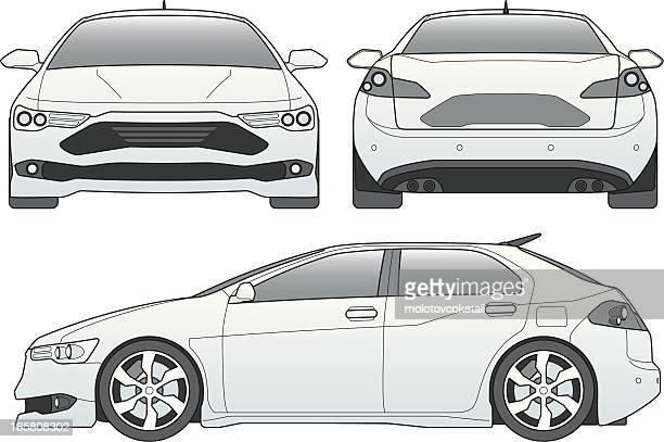 illustrations, cliparts, dessins animés et icônes de voiture ligne art - devant