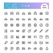 Car Line Icons Set