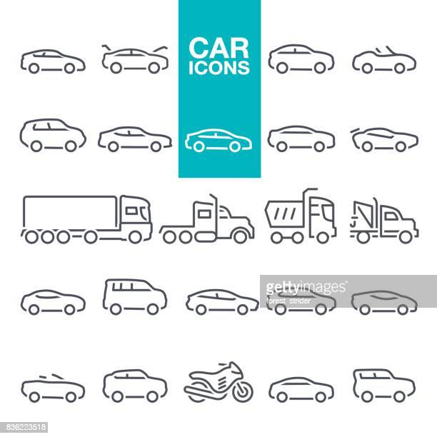 car line icons - side view stock illustrations