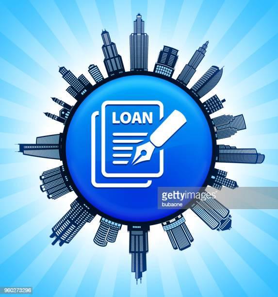 autokredit auf modernen stadtbild skyline hintergrund - stockwerk stock-grafiken, -clipart, -cartoons und -symbole