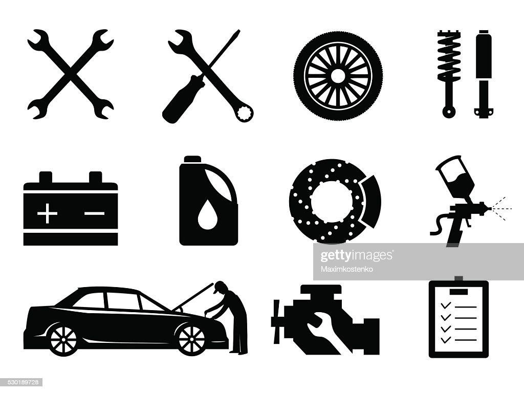 Car maintenance and repair icon set, vector