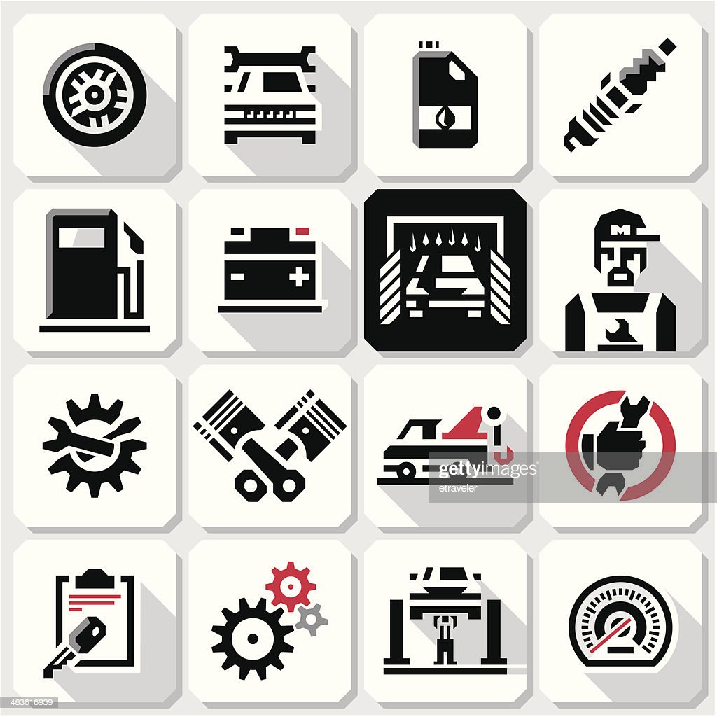Car maintenance icons. Mechanic.