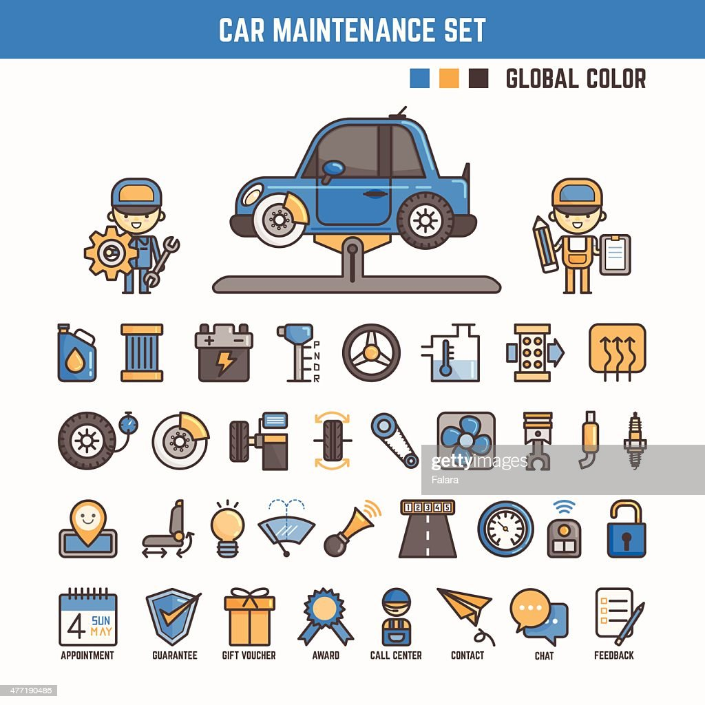 car maintenance infographic elements for kid