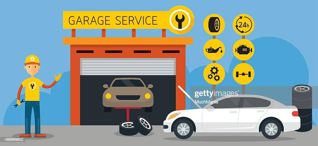 Car, Mechanic and Garage Service Icons and Illustration