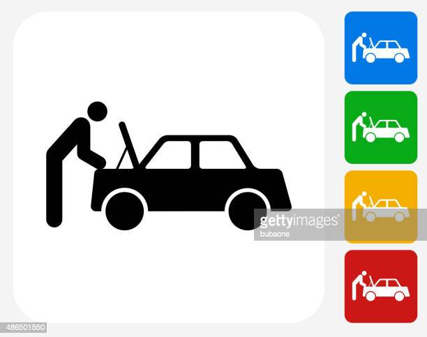 car mechanic icon flat graphic design - vehicle hood stock illustrations, clip art, cartoons, & icons