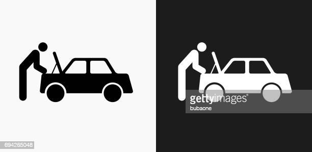 Car Mechanic Icon on Black and White Vector Backgrounds