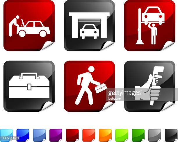 car mechanic six sticker set on white background - vehicle hood stock illustrations, clip art, cartoons, & icons