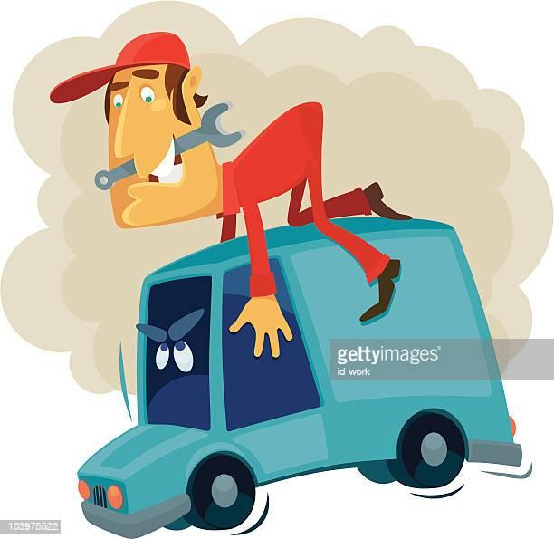 car mechanic - runaway vehicle stock illustrations, clip art, cartoons, & icons