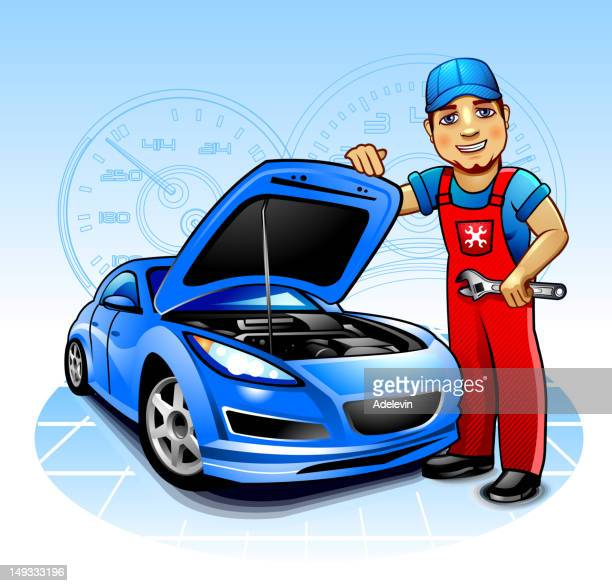 car mechanic - vehicle hood stock illustrations, clip art, cartoons, & icons