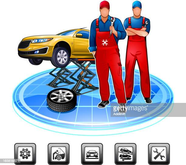car mechanic - tire vehicle part stock illustrations, clip art, cartoons, & icons