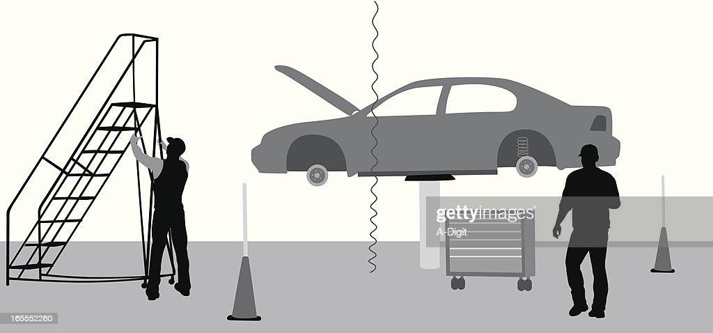 Car Mechanics Vector Silhouette