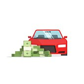 Car money concept of expenses, auto savings, financial success, loan,