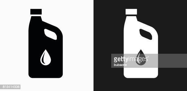 Car Oil Icon on Black and White Vector Backgrounds
