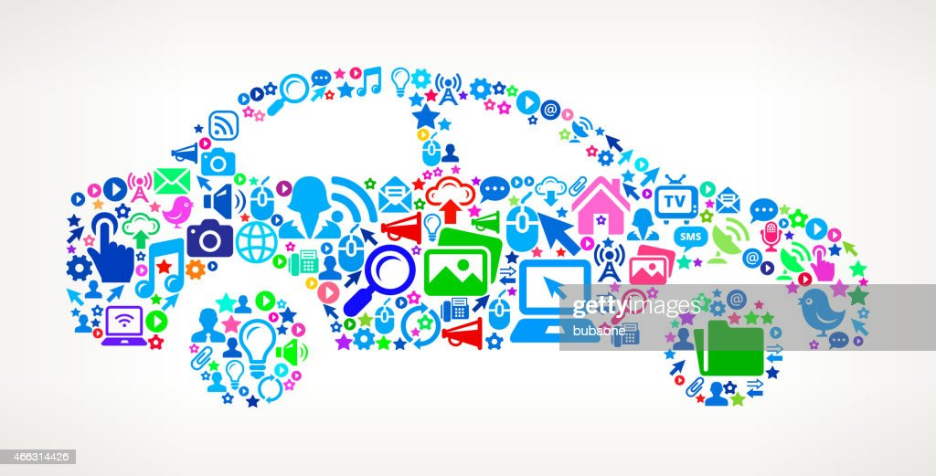 Car on Modern Technology & Communication interface icon Pattern : Vector Art