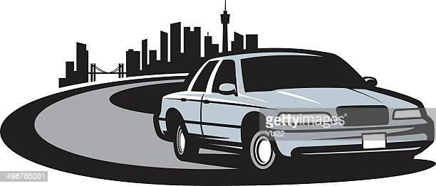 car on street - domestic car stock illustrations, clip art, cartoons, & icons