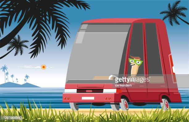 car on the beach - car ownership stock illustrations, clip art, cartoons, & icons