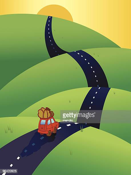 car on the road, heading to the horizon - country road stock illustrations