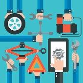 Car Online Service modern flat design