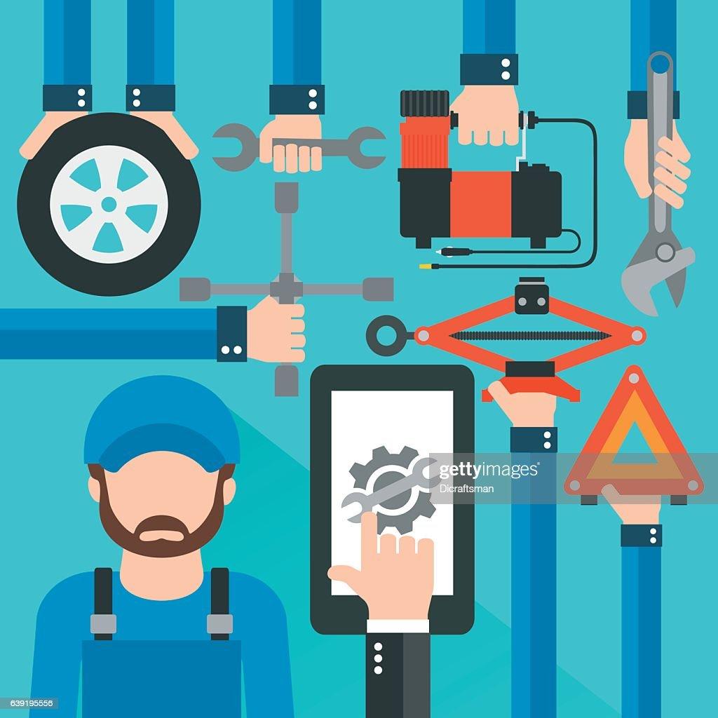 Car Online Service with repairer modern flat design