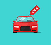 Car or auto sale vector illustration, flat cartoon design automobile with sale tag, idea of rent or buy service promotion label, concept of dealership banner