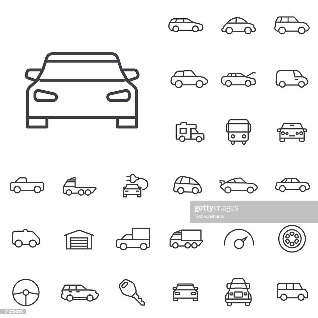 car outline, thin, flat, digital icon set