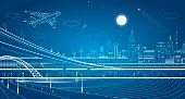 Car overpass, city infrastructure, urban plot, plane