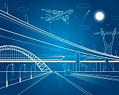 Car overpass, infrastructure, plane takes off
