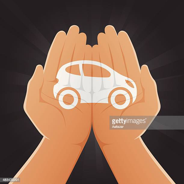 car painted on hands - hatchback stock illustrations, clip art, cartoons, & icons