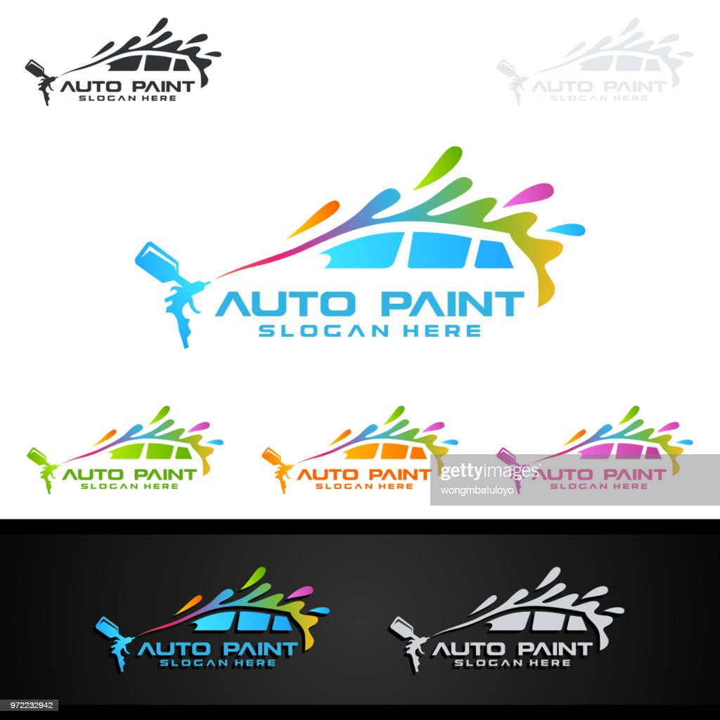 Car Painting Symbol with Spray Gun and Sport Car Concept